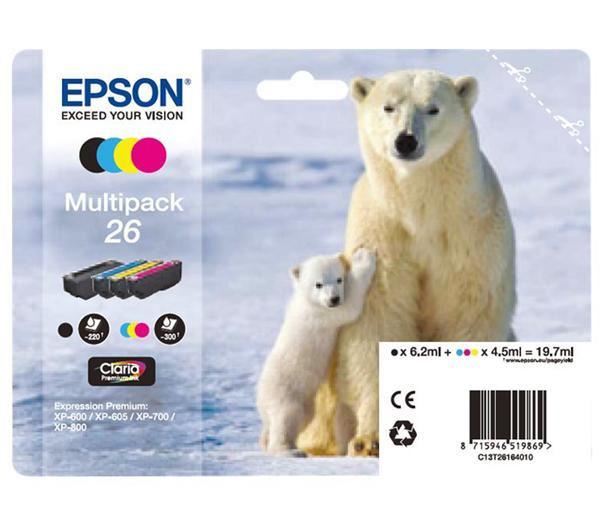 C13T26164010 - CARTUCHO EPSON 26 PACK4 XP-510, 520, 600, 605,
