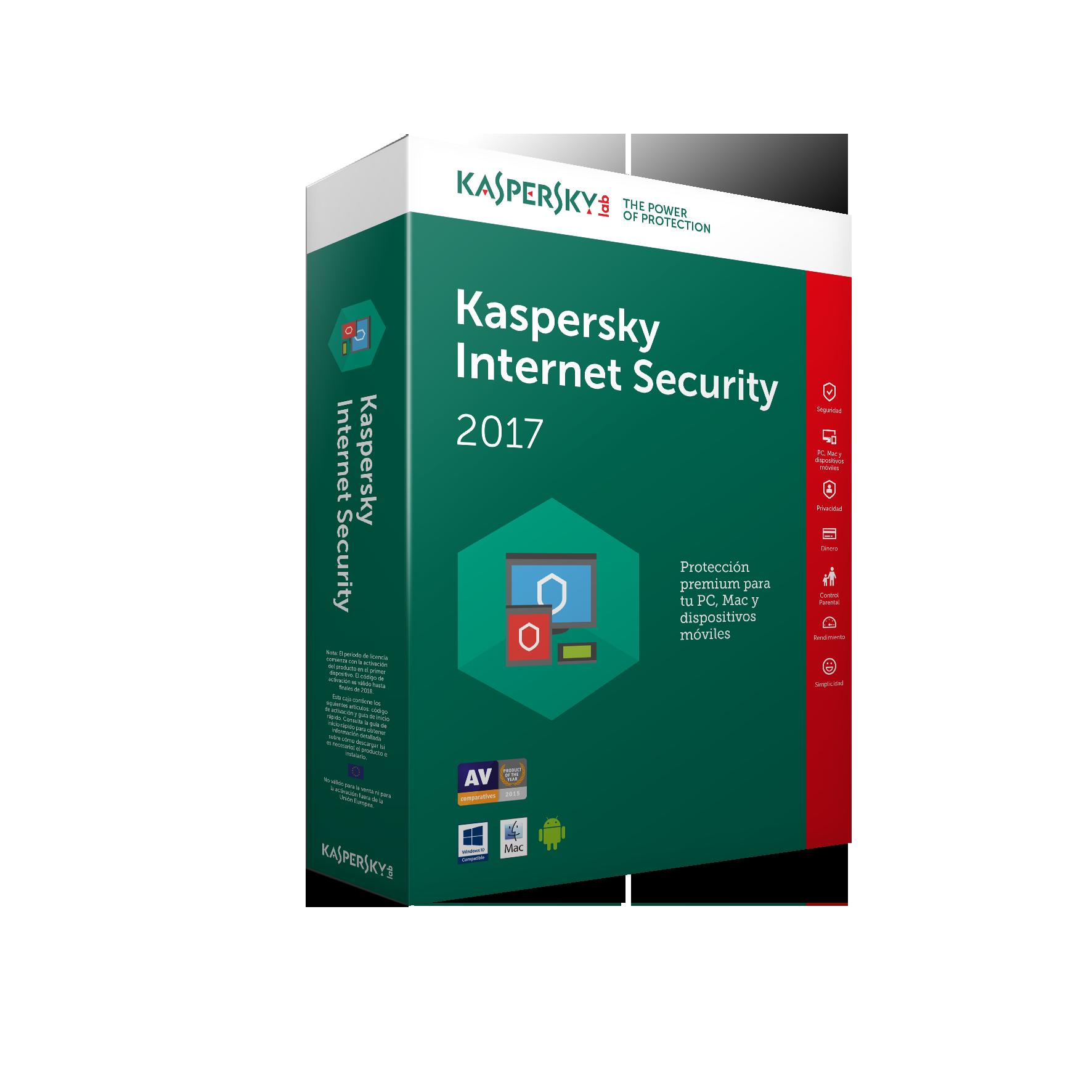 KL1941SBAFS-7 - ANTIVIRUS KASPERSKY 2017 1 US INTERNET SECURITY