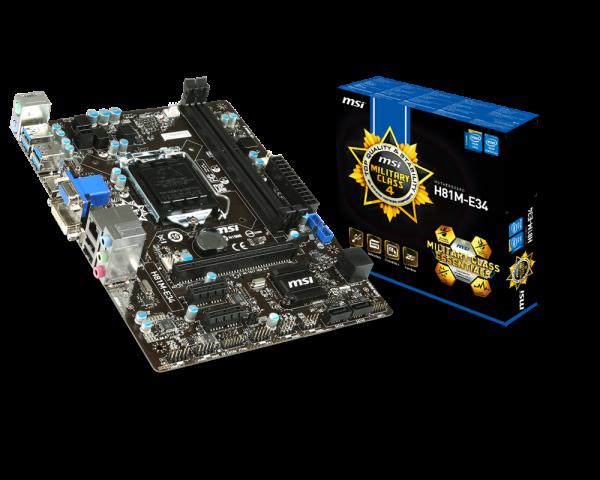 911-7817-058 - PLACA BASE 1150 MSI H81M-E34 MATX-USB3-HDMI-DVI-VGA