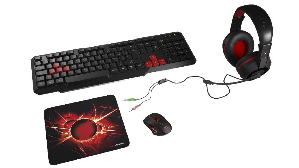 MACP1 - PACK MARS GAMING TECLADO + RATON + AURIC+ALFOMBRIL