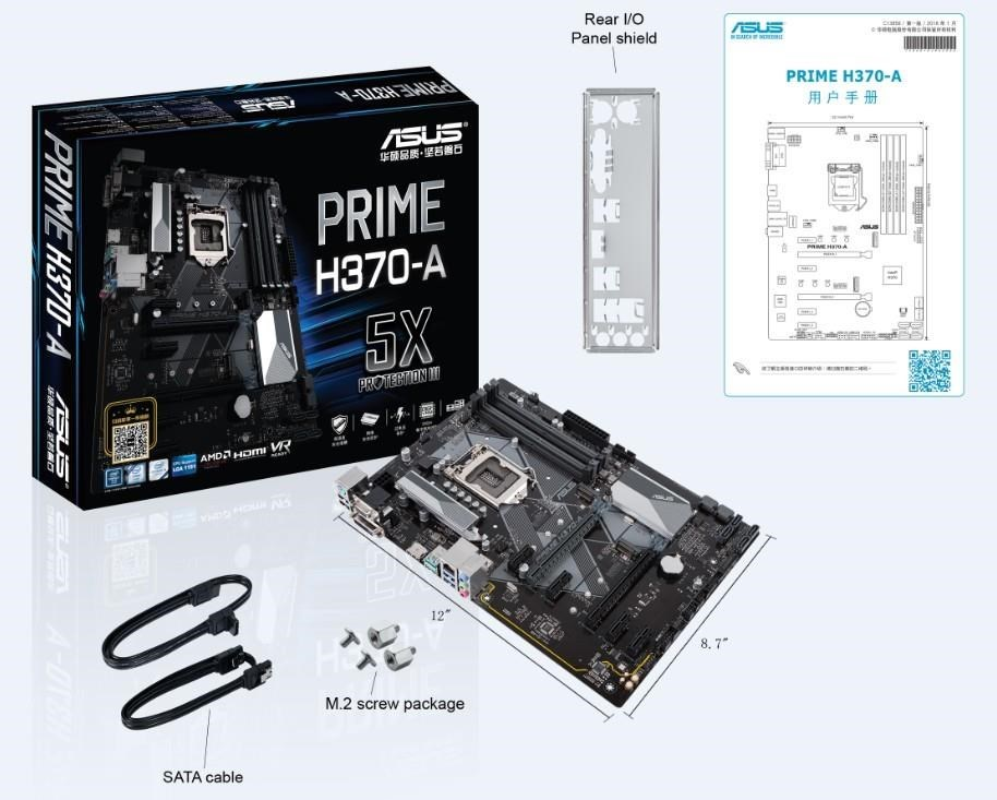 PLACA BASE 1151 ASUS PRIME H370-A ATX-4XDDR4-USB 3.1