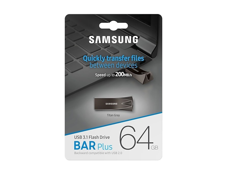 PEN DRIVE 64GB SAMSUNG BAR PLUS TITAN GRAY PLUS