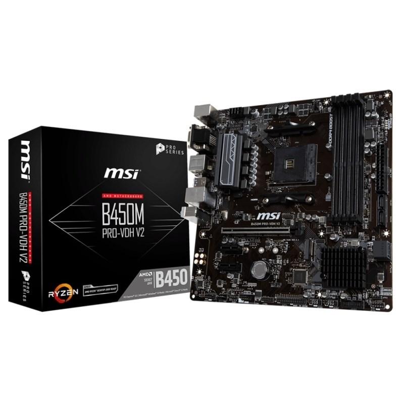 PLACA BASE AM4 MSI B450M PRO-VDH V2 MATX-USB 3.1-HDMI-M.2
